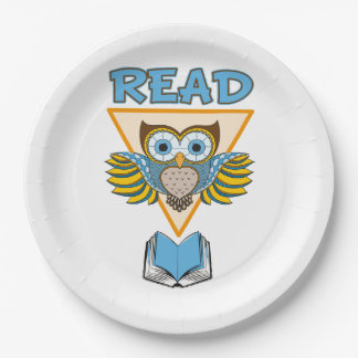 Read Books Blue Gold Owl Paper Plate