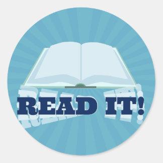 Read It! Instant  Book Promotion Round Sticker