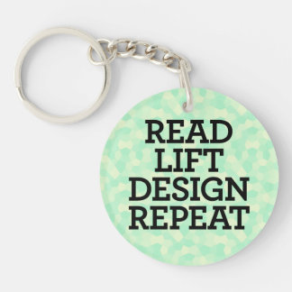 Read Lift Design Repeat Double-Sided Round Acrylic Keychain