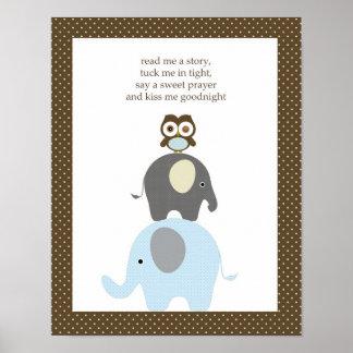 Read me a story owl elephant boy nursery art poster