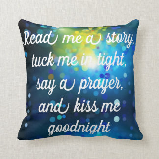 Read Me A Story Tuck Me In BLUE Pillow REVERSIBLE