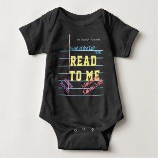 """""""Read to Me"""" Black Chalk Note Paper Baby Shirt"""