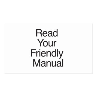 Read Your Friendly Manual Business Card Templates