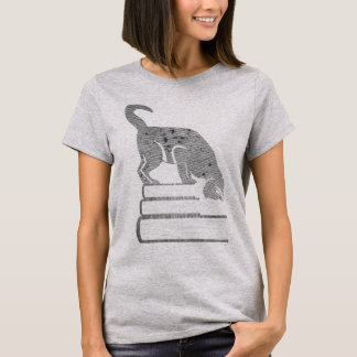 Reader Black Cat Tshirt in Retro Halftone Style