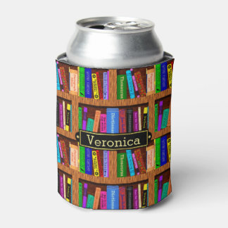 Readers Library Bookshelf Book Pattern Custom Name Can Cooler