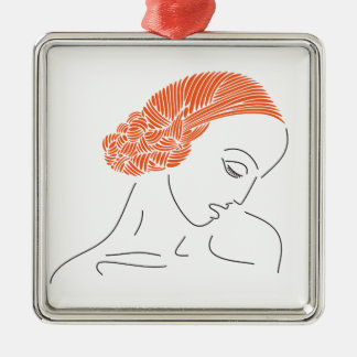 readheaded young woman Silver-Colored square ornament