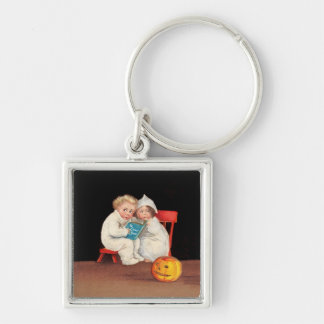 Reading a Scary Story Keychain