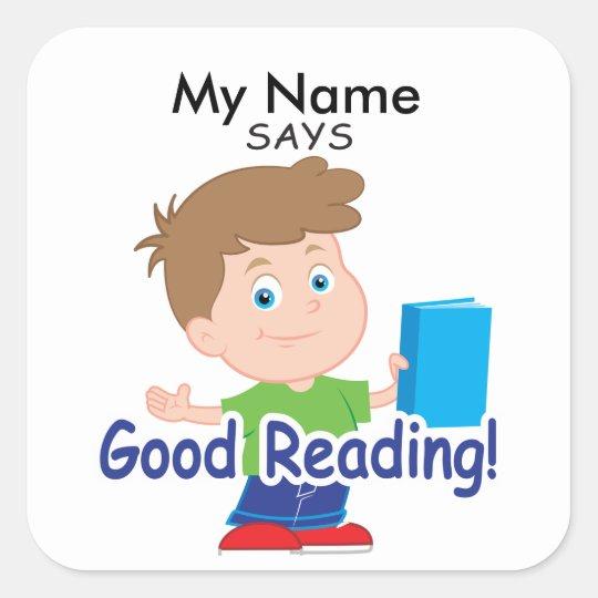 Reading Boy - Good Reading! Square Sticker