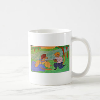 Reading by the river coffee mug