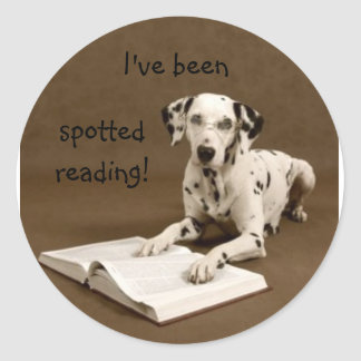 reading dalmatian round sticker