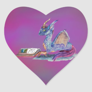 Reading Dragon Heart Sticker