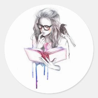 reading girl round sticker