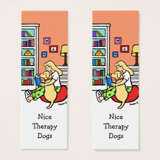 Reading Girl with a Yellow Labrador Bookmarks Mini Business Card