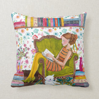 Reading girl with cat | Cotton Throw Pillow