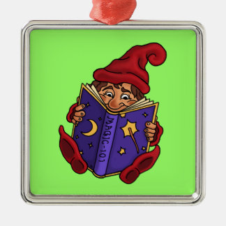 reading gnome fantasy Silver-Colored square ornament