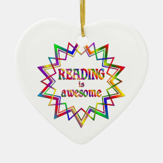 Reading is Awesome Ceramic Heart Ornament
