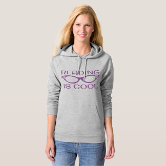 Reading is Cool Hoodie with Cat Eye Glasses pink