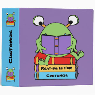 Reading Is Fun Cute Book Loving Alien Binder