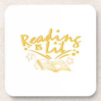 Reading Is Lit Funny Literacy Gift Coaster