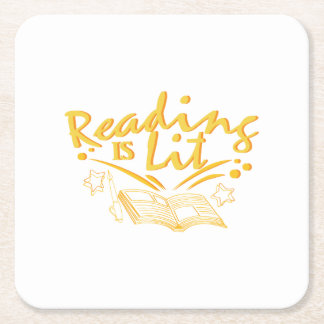 Reading Is Lit Funny Literacy Gift Square Paper Coaster