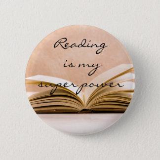 Reading is my super power 2 inch round button