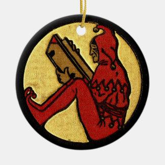 Reading Jester Round Ceramic Ornament