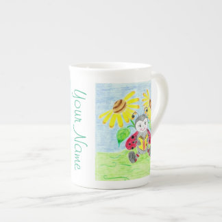 Reading ladybug Bone China mug