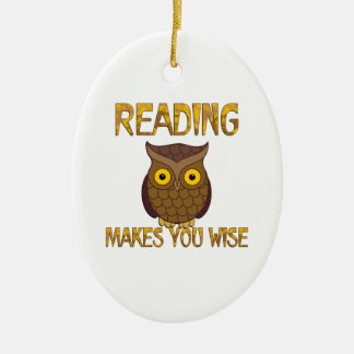 Reading Makes You Wise Ceramic Oval Ornament