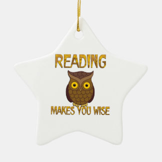 Reading Makes You Wise Ceramic Star Ornament