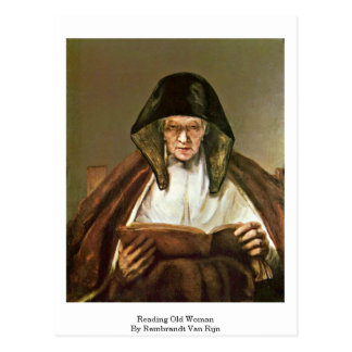 Reading Old Woman By Rembrandt Van Rijn Postcard