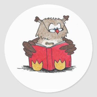 Reading Owl Classic Round Sticker