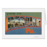 Reading, Pennsylvania - Large Letter Scenes Greeting Card