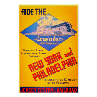 Reading Railroad Crusader Train 1937 Poster