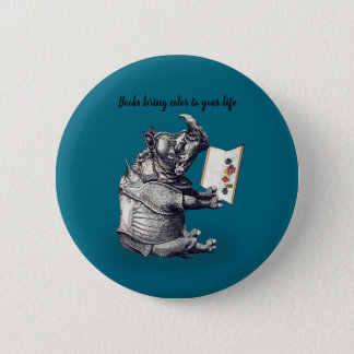 Reading Rhinoceros loves books 2 Inch Round Button