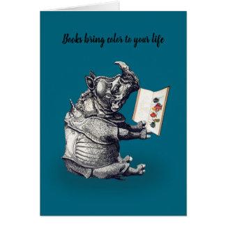 Reading Rhinoceros loves books Card