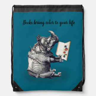 Reading Rhinoceros loves books Drawstring Bag