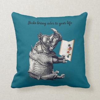 Reading Rhinoceros loves books Throw Pillow