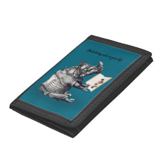 Reading Rhinoceros loves books Tri-fold Wallet
