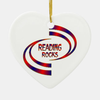 Reading Rocks Ceramic Ornament