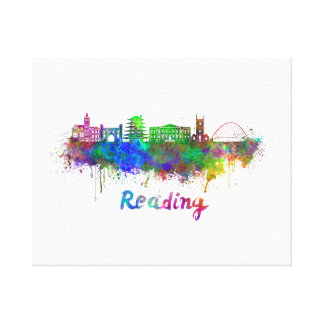 Reading skyline in watercolor canvas print