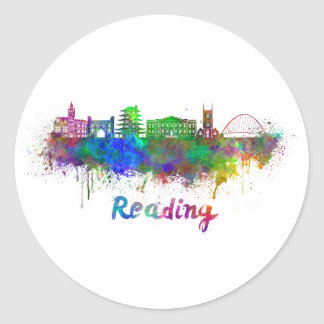 Reading skyline in watercolor classic round sticker