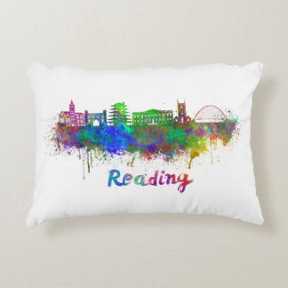 Reading skyline in watercolor decorative pillow