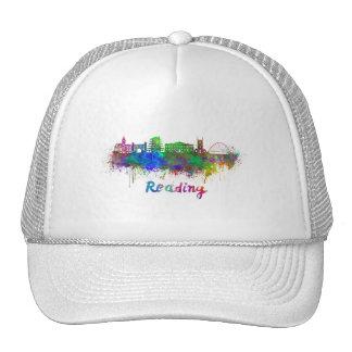 Reading skyline in watercolor trucker hat
