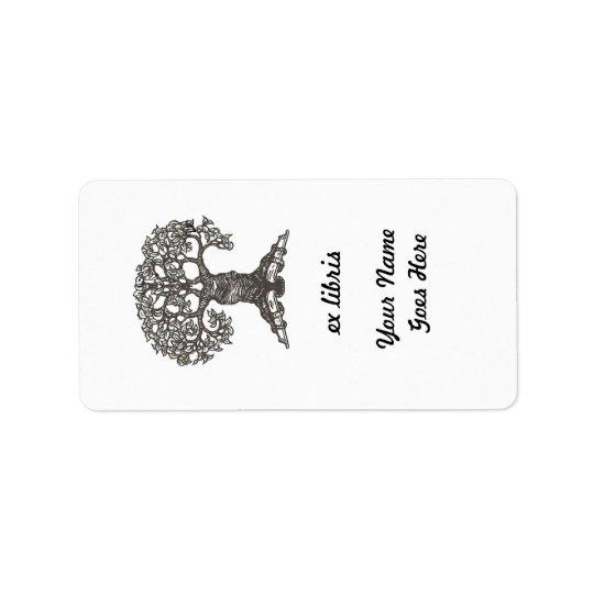 Reading Tree Rectangular Bookplate Label
