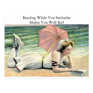 Reading While You Sunbathe Humour Postcard