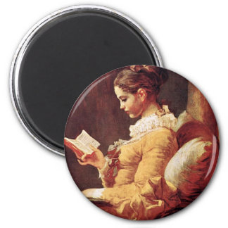 Reading Women By Fragonard, Jean-Honoré (Best Qual 2 Inch Round Magnet
