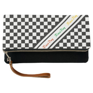 Ready 4 Race Day Classic Racing Check Black White Clutch