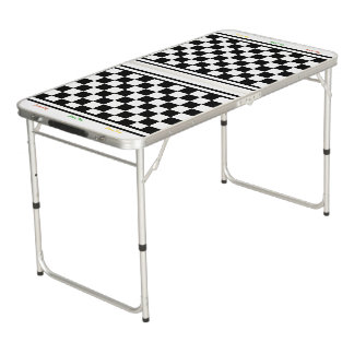 Ready 4 Race Day Classic Racing Check Black White Pong Table