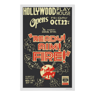 Ready Aim Fire Hollywood 1937 WPA Poster