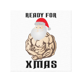 Ready for christmas muscle Santa Claus Canvas Print